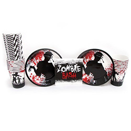 Zombie Bash Party Bundle for 16 Guests - Straws, Dessert Plates, Beverage Napkins, and Cups