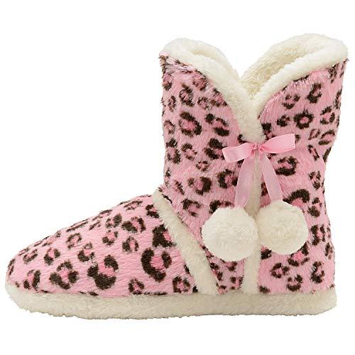 Femmes Licorne Pantoufles Pour Filles Et 3d Duveteux Nouveauté Animal Chaussures Rose/léopard