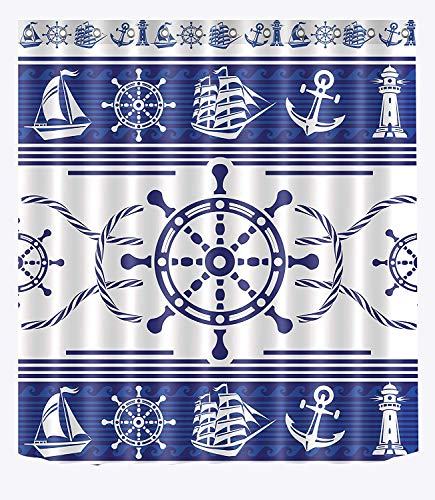 SZZWY Nautical Marine Theme Decor Anchor Wheel Sailboat Lighthouse Sailor Rope Blue White Pattern Shower Curtains for Bathroom Shower Curtain Set Waterproof ()