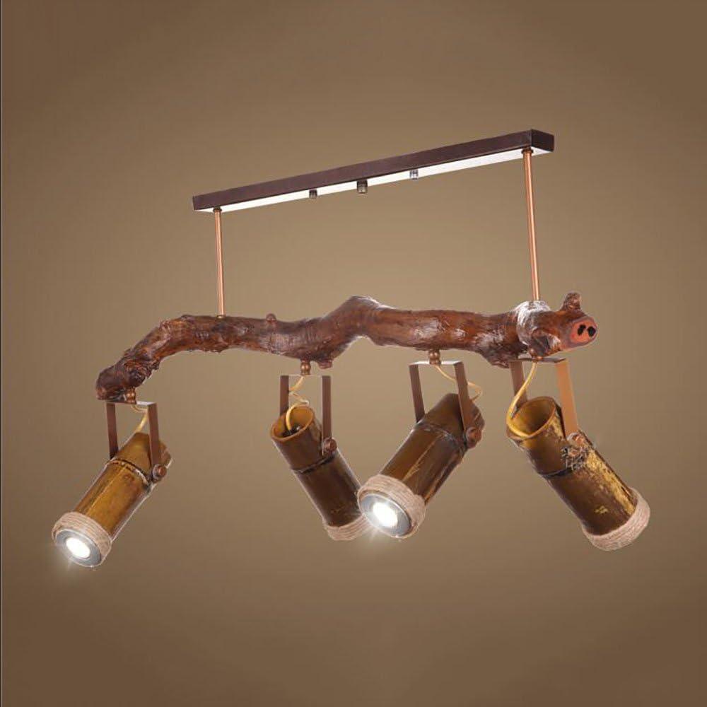Chandelier TOYM UK Iluminaci/ón de Pista de Madera de bamb/ú 4 Luces empotradas LED cafeter/ías Color : 3WLED Warm Light Adecuada para Bares