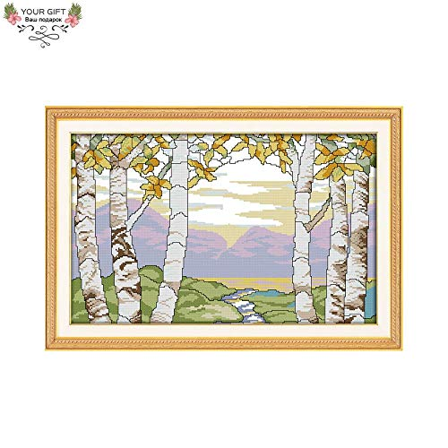 Zamtac F811(1) 14CT 11CT Counted and Stamped Home Decor Birches in The Summer Needlepoint Embroidery DIY Cross Stitch Kits - (Cross Stitch Fabric CT Number: 11CT Stamped Product)