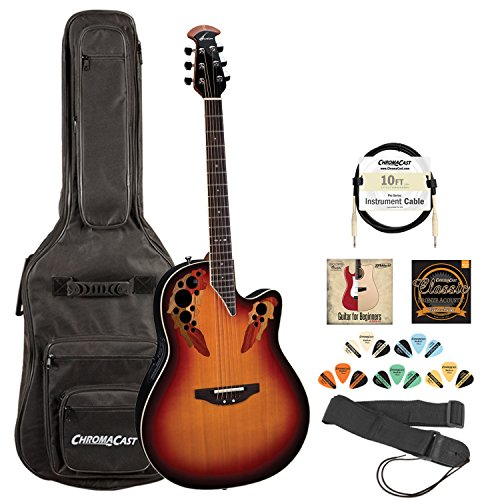 Ovation Standard Elite 2778AX New England Burst Acoustic/Electric Guitar w/ Strap, Gig Bag, Cable, DVD, Strings & Pick Sampler
