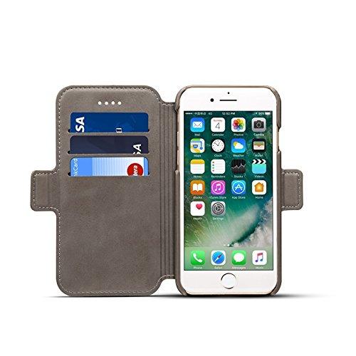 SRY-Bolsa para teléfono móvil Cierre de cuero magnético desmontable 2 en 1 cubierta de la caja del soporte del tirón con la cartera para el iPhone 6 más / 6s más ( Color : Khaki ) Gray