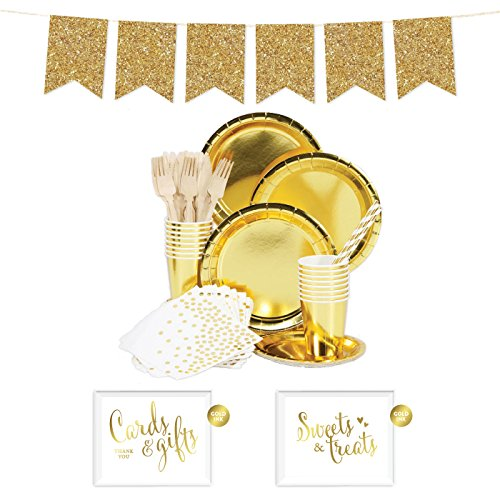 Andaz Press Complete 70-Piece Tableware Kit for 8 Guests, Shiny Metallic Gold Foil, Includes Plates, Cups, Napkins, Spoons, Forks, Straws, Party Signs, Hanging Banner Decorations, Color Supplies -