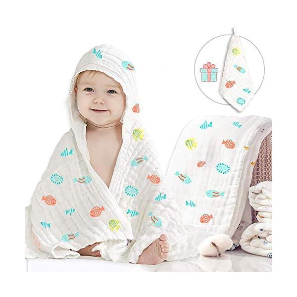 Caiery Copertine in Mussola/Mussole Neonato 110CMx110CM /Asciugamani Bimbo/Baby Bath Towel, 100% Mussola Cotone… 1
