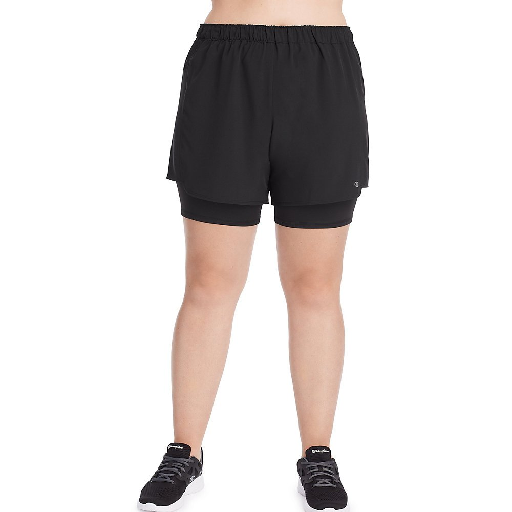 Champion Women's Plus Size Woven 2 in 1 Short, Black, 2X