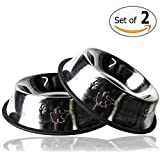 Gpet Stainless Steel Paw Design Dog Bowl with Rubber Base, Set of 2, 32 Ounce
