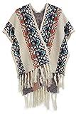 Moly Magnolia Womens Retro Knitted Cashmere Poncho Cape Tassels Shawl Beige