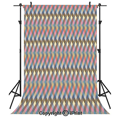 Geometric Photography Backdrops,Rhombus Shapes Diagonal Stripes Faded Colors Traditional Argyle Plaid Inspired Decorative,Birthday Party Seamless Photo Studio Booth Background Banner 5x7ft,Multicolor