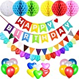 Birthday Decorations Party Supplies for Boys and Girls, Acetek Happy Birthday Banner Flags, 6 Colorful Tissue Paper Pompom Balls, 18 Balloons, Heart Garland & Bunting for Birthday, Baby Shower, Wedding, Party Supplies for Kids and Adults