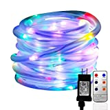 LED Rope Lights, 33ft 136 LED Waterproof String Lights with Remote, 8 Mode/Timer Fairy Lights for Christmas Holiday Garden Patio Party Halloween Home Pool Outdoor Indoor Decoration (Colorful)