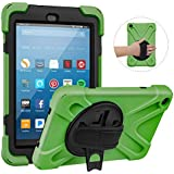 MoKo Case Fits All-New Amazon Fire HD 8 Tablet (7th and 8th Generation, 2017 and 2018 Release) - PC Silicone 360° Rotating Stand Protective Shell Cover Built-in Hand Strap for Fire HD 8, Army Green
