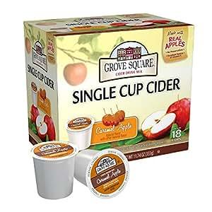 Grove Square Cider, Caramel Apple, 18 Single Serve Cups (Pack of 3)