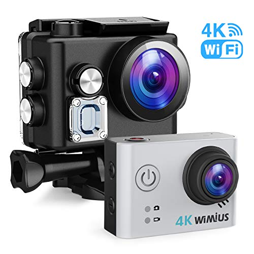 WiMiUS Sport Action Camera 4K Ultra HD Camcorder 12MP WiFi Waterproof Underwater Cameras 40M 170 Degree Wide Angle 2 Inch LCD Screen Sony Sensor 2 Rechargeable Batteries and Accessories Kits