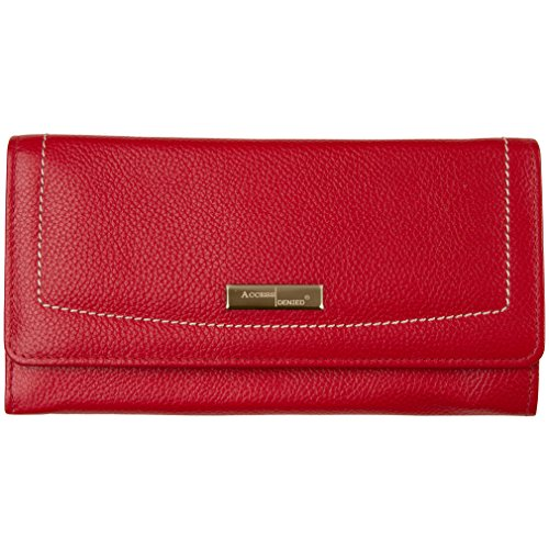 Access Denied Womens RFID Blocking Wallet Leather Accordian (Red)