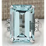Sumanee Vintage Women 925 Silver Aquamarine Gemstone Ring Wedding Jewelry Size 6-10 (6)