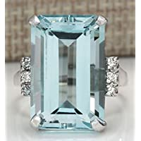 Women Fashion 925 Silver Emerald Cut Blue Aquamarine Wedding Jewelry Ring Sz5-12 by Siam panva (7)