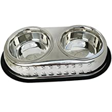 Mr. Peanut's Premium Double Dish Chrome Embossed Stainless Steel Pet Bowl, Rust Proof with Non-Skid Natural Rubber Base, Beautiful Design & Quality Materials (1 Pint)