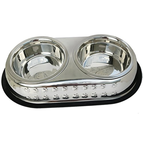 Mr. Peanut's Premium Double Dish Chrome Embossed Stainless Steel Pet Bowl, Rust Proof with Non-Skid Natural Rubber Base, Beautiful Design & Quality Materials (1 Pint) - Embossed Dog Bowl