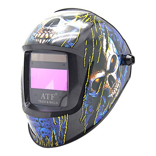 "FFXENG Auto Darkening Welding Helmet Blue Skull Solar Powered,Large View Area 3.94""x1.97"",4 Arc Sensors Replaceable 1/1/1/1 Optical Class for MMA, MIG MAG, TIG Welding Machines"