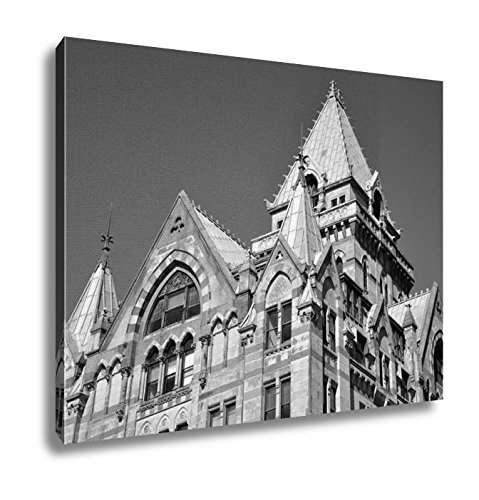 Ashley Canvas Syracuse Savings Bank Building Was Built In 1876 With Gothic Style At Clinton, Kitchen Bedroom Living Room Art, Black/White 24x30, AG6086059 (America New Bank Of Syracuse York)
