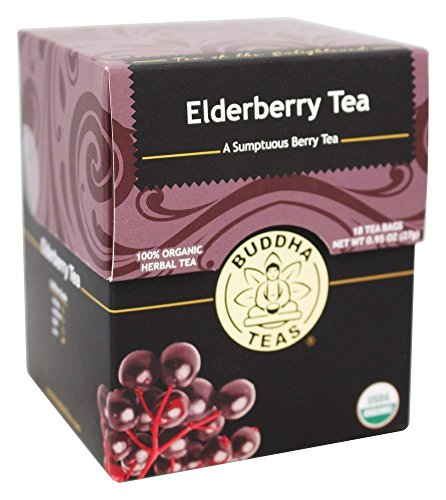 Organic Elderberry Tea, 18 Bleach-Free Tea Bags - Organic Tea Strengthens the Immune System, Supports Upper Respiratory Health, and Is a Great Source of Antioxidants, No GMOs