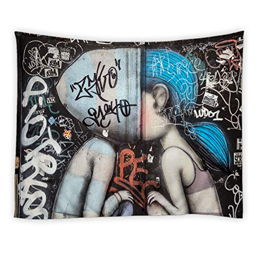 Graffiti Tapestry Hippie Girl Modern Decor Abstract Hip Hop Mural Urban Art Wall Hanging Tapestries Decor Bedroom Living Room Dorm Polyester Fabric 90 x 71 Inch Black Blue