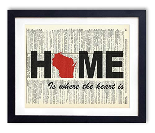 Wisconsin Home Is Where The Heart Is Upcycled Vintage Dictionary Art Print -