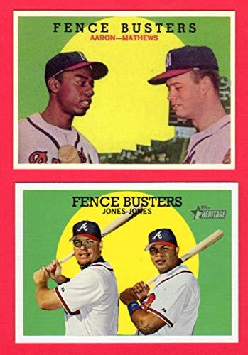 Atlanta, Milwaukee Braves (2) Card Baseball Reprint Lot (Fence Busters Cards **1959 Topps with Hank Aaron/Eddie Mathews, 2008 Topps Heritage with Chipper Jones/Andrew Jones**