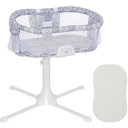 Halo - Swivel Sleeper Bassinet - Luxe Series - Blue Medallion with Grey Fitted Sheet by Halo