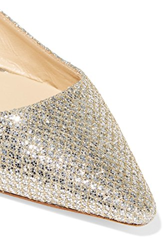 Shoes Toe Pointed Gold TDA Women's Glitter Flat Comfort Leisure 0CPWx4tgwq