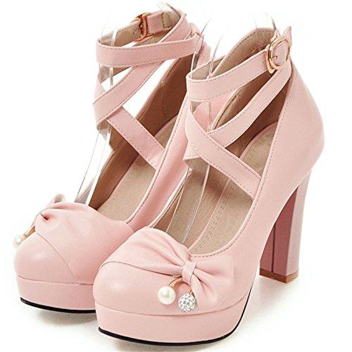 VIVIOO Tacón Alto Zapatos De La PU Mujer Zapatos De Fiesta Señora De La Oficina Poco Profundo Sólido De Tacón Alto 10 Cm Mujeres De La Moda Bombas Grandes Pink