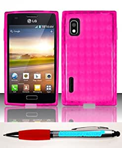 Accessory Factory(TM) Bundle (the item, 2in1 Stylus Point Pen) LG Optimus Extreme L40g (StraightTalk Net 10) TPU Case Cover Protector - Hot Pink