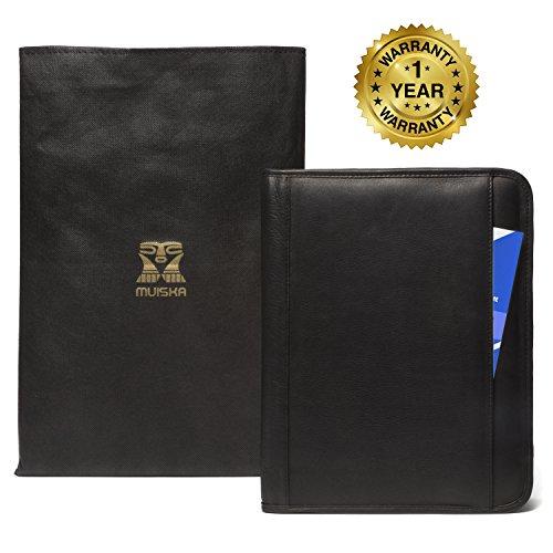 muiska leather custom initials engraving interview resume folder