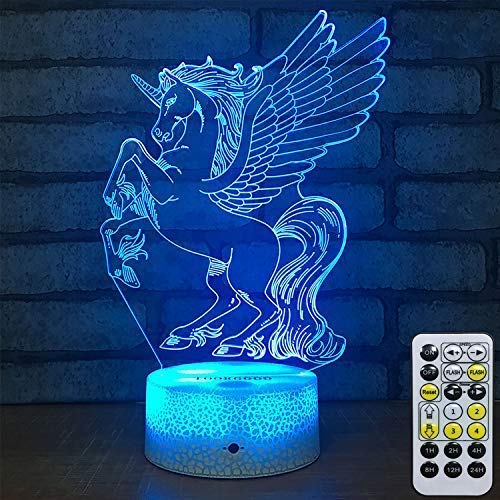 TOORGGOO Unicorn 3D Night Light, with Remote Control & Smart Touch 7 Color Changing Timer, Birthday for Girls Kids Home Bedrooms D¨¦cor LED Optical Illusion Night Light (Unicom)