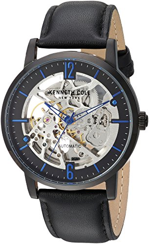 Kenneth Cole New York Men's Automatic Stainless Steel and Leather Casual Watch, Color:Black (Model: KC50054002)