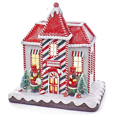 (Christmas Decorations - Christmas Decorations - LED Lighted Gingerbread House - Candy Shop)
