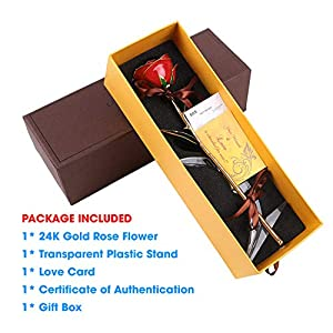 DuraRose Authentic Rose with Stand and Love Card, Stem Dipped in 24k Gold - Best Gift for Loves Ones. Ideal for Valentine's Day, Mother's Day, Anniversary, Birthday, (Adorable Red) 2