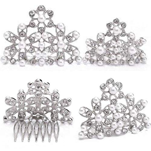 Utopiat Audrey Hepburn Breakfast at Tiffany's Pearl Tiara Comb Hair Piece Vintage Costume, Silver, One ()