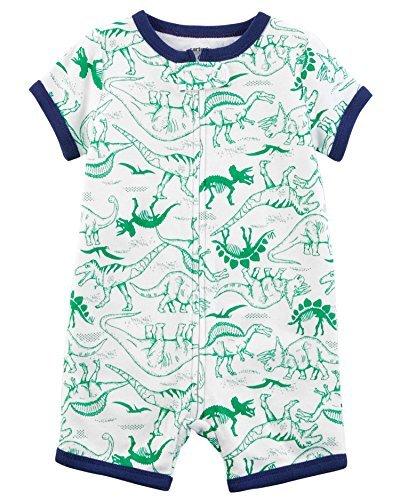 Zip-up Cotton PJ Romper (6 Months, Green Dino) ()