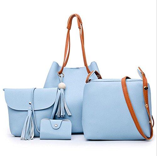 LXYIUN Mujeres Moda PU Mano Bolso De Cuero,Traje De Cuatro Piezas De Moda Bolsas De Hombro Portátil Oblicuo Paquete De Tarjeta Colgante Borla De Moda,Blue Blue