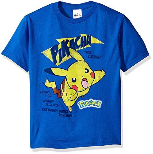 Pokemon Little Boys Pikachu Short Sleeve Tee, Royal, -
