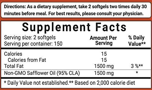 Maximum Strength CLA Supplements (CLA 1500mg Per Serving), 300 Softgels, with Conjugated Linoleic Acid, Natural Weight Loss and Fat Burn Support, No GMOs 6