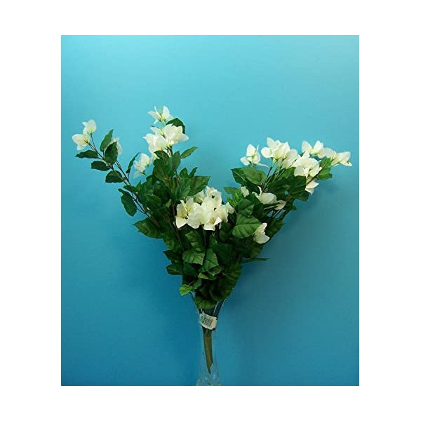 Quality 27″ White Bougainvillea Cluster Artificial Faux Silk Flower Bouquet