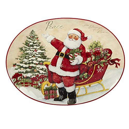 Certified International 22835 Holiday Wishes Oval Platter, 16.5