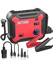BUTURE Arrancador portátil de coche con compresor de aire, 2500 A 23800 mAh batería Booster Pack (todos los gases/8.0 L Diesel) con inflador de neumáticos digital de 150 PSI, QC3.0 Power Pack con salida de 120 W CC, luz de emergencia