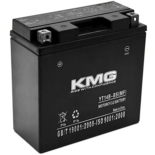 KMG YT14B-BS Battery For Yamaha 1700 XV17P Road Star Warrior 2002-2008 Sealed Maintenace Free 12V Battery High Performance SMF OEM Replacement Powersport Motorcycle ATV Snowmobile Watercraft (2005 Yamaha Road Star)