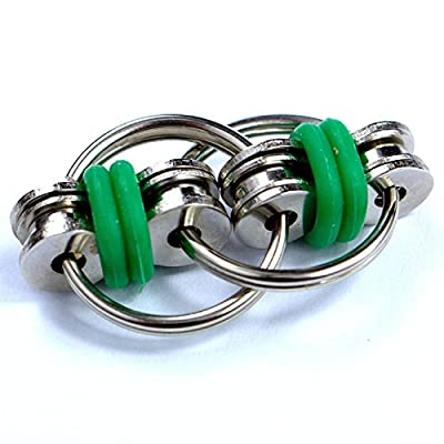 Flippy Stainless Steel Bike Chain Fidget Toys Relieve Your Stress, Anxiety, & Boredom all at your Finger Tips! Also Helps ADD, ADHD, & Autism (Green)