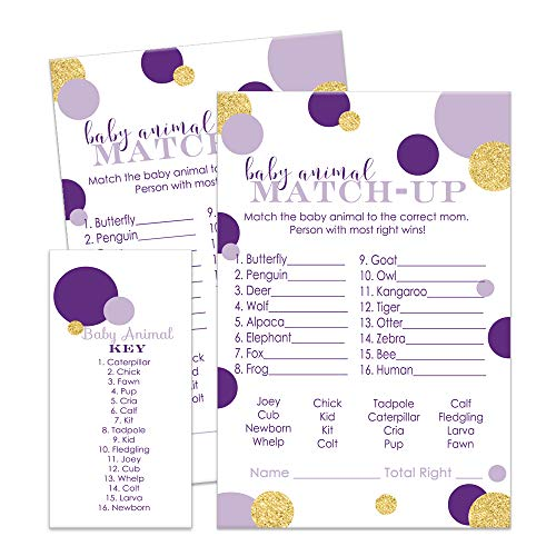 Purple and Gold Baby Shower Game - Animal Matching - 25 -