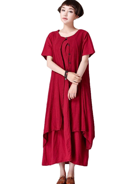 Vogstyle Damen Sommer Baumwollleinen Kleider mit Taschen